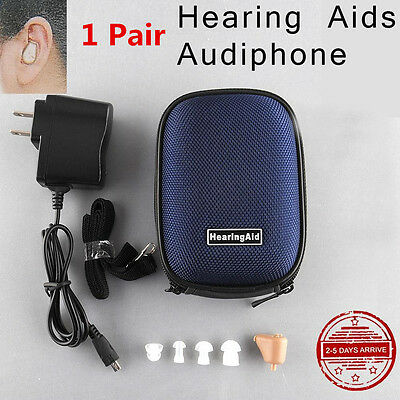 2X Adjustable Rechargeable Digital Mini In Ear Hearing Aid Amplifier Audiphone