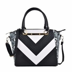 Ladies Snakeskin Pattern Stripe Patchwork Handbag Dark Blue Brand New