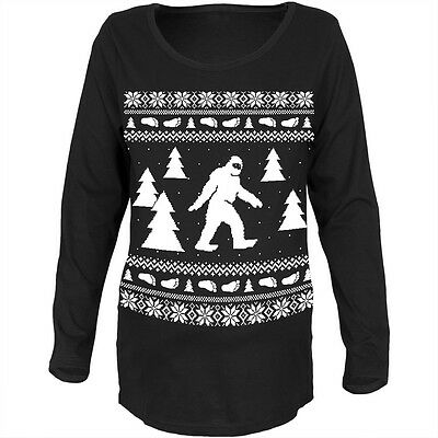 Sasquatch Ugly Christmas Sweater Black Maternity Soft Long Sleeve T-Shirt - Maternity Christmas Sweaters