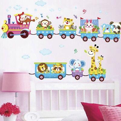 Animal Wall Sticker Monkey Giraffe Tree Train Nursery Baby Kids Room Decors Dj8