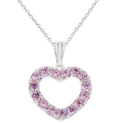Rhodium Plated Love CZ Pink Heart Necklace Pendant Girls Kids 16