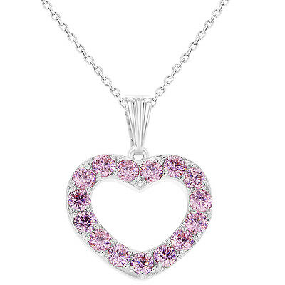 Rhodium Plated Love CZ Pink Heart Necklace Pendant Girls Kids 16