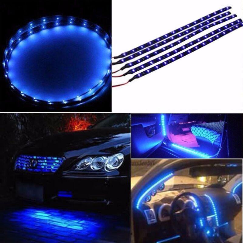 "Car Parts - 6pcs 12""/30CM Blue Car Motor Truck Flexible LED Strip Light Bar Waterproof 12V"