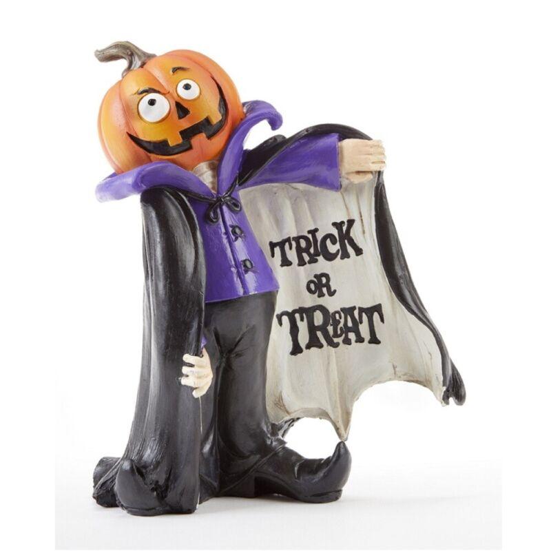 Trick or Treat Halloween Pumpkin Headed Vampire Figurine 8.2 Inches Tall
