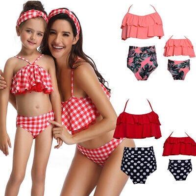 Mother Daughter Matching Girl Swim Costume Floral Print Swimwear Bikini Swimsuit