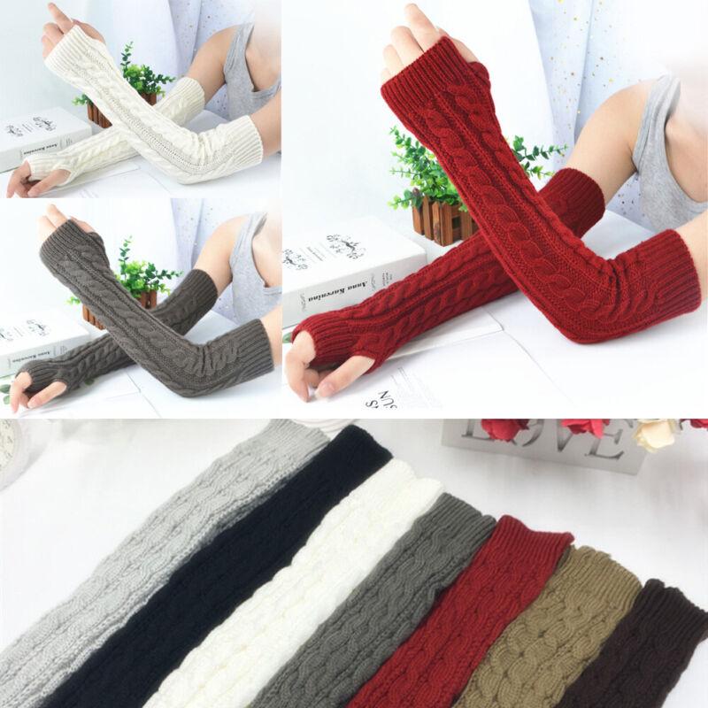 Men Women Knit Sleeve Gloves Wrist Arm Warmer Ride Fingerless Hand Long Mittens