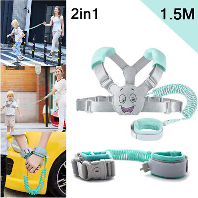 Kid Toddler Baby Walking Safety Harness Leash Backpack Anti Lost Wrist Link Belt