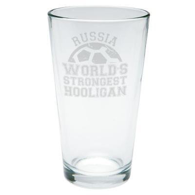 World Cup World's Strongest Hooligan Russia Etched Pint (Strongest Glasses)