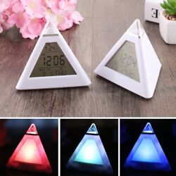 Mordern Digital Weather LCD Alarm Clock Pyramid Shape 7 Color Display LED Winter