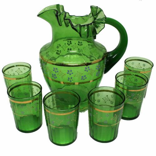 Victorian Emerald Green Glass Water Set