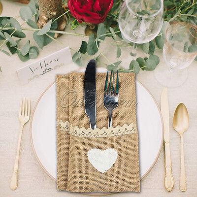 20× Natural Burlap Utensil Holders Knifes Forks Bag Cutlery Pouch Tableware Bags - Burlap Utensil Holder