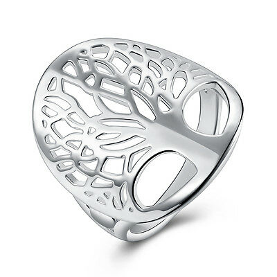 Silver ring 925 tree of life solid women lady jewelry size6-9 wedding cute gift