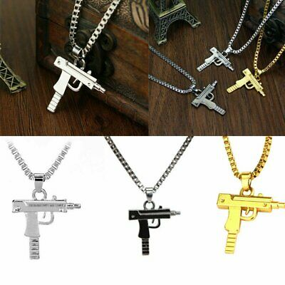 Mens Fashion Mini-Uzi Machine Gun Pendant Chain Hip Hop Punk Necklace Jewelry US Fashion Jewelry