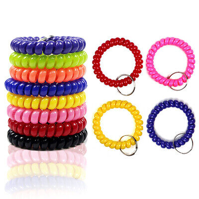 6x Colorful Coil Stretchable Wristband Spiral Keychain Key Ring for Gym Pool - Spiral Keychain Bracelet