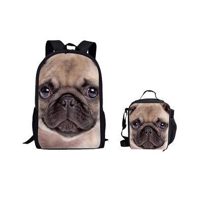 Cute Pug School Bag Satchel Travel Backpack Lunch Bag Pack f