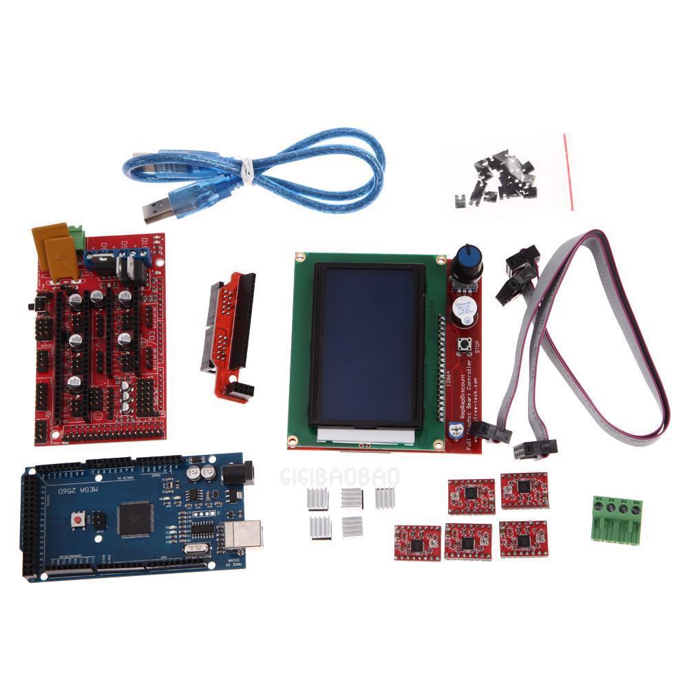 3D Printer Kit RAMPS 1.4 MEGA2560 A4988 LCD 12864 Controller Board for RepR