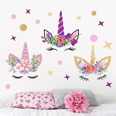 3Pcs Fairy Unicorn Wall Stickers Star & Dots Girls Kids Room Decor Wall Decal - Star Stickers