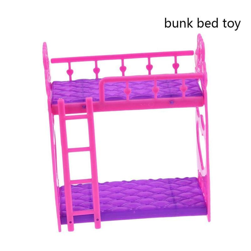 1Set Bunk Bed Bedroom Furniture Bed Plastic for Barbie Dolls Dollhouse Decor