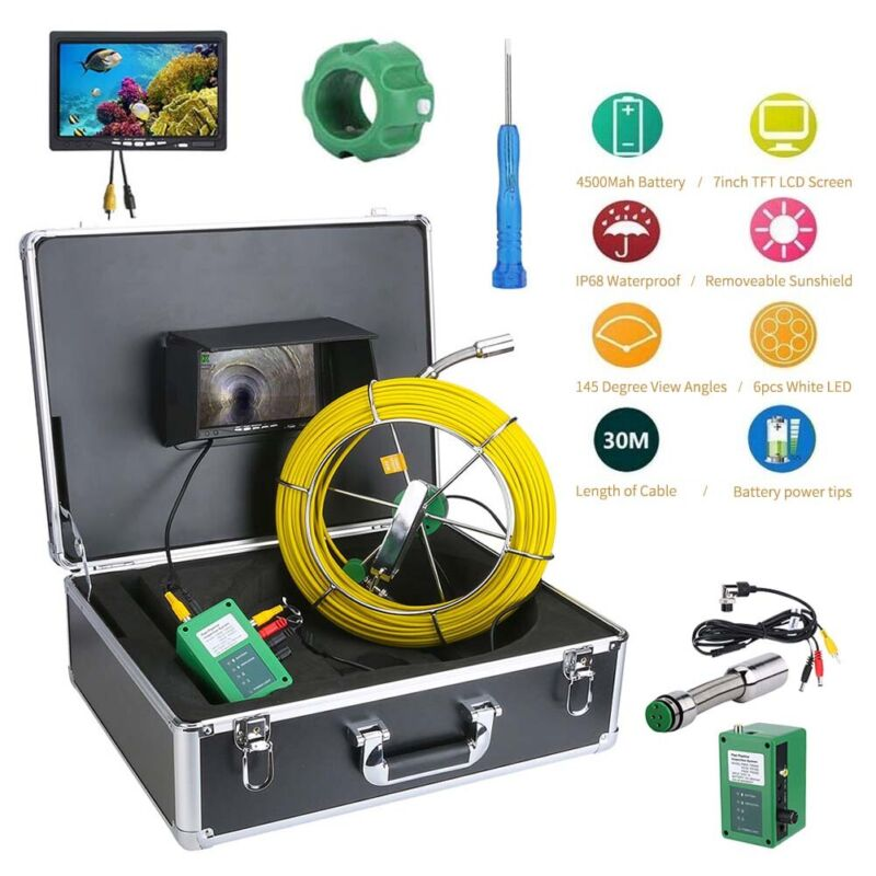 """30M Waterproof Drain Pipe Sewer Inspection Camera System 7""""LCD 1000 TVL Camera"""