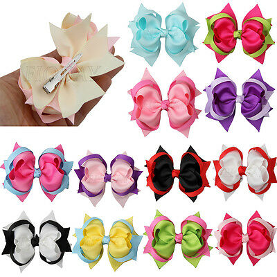 1  4 Inch Two Tone Girl Kids Baby Hair Bows Ribbon Alligator Clips 15 Colors