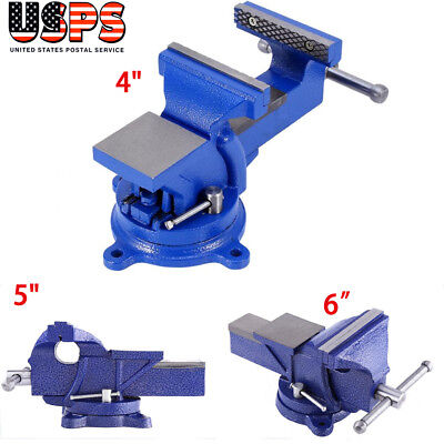 456 360 Mechanic Heavy Duty Bench Vice Clamp Locking Swivel Base Us Stock