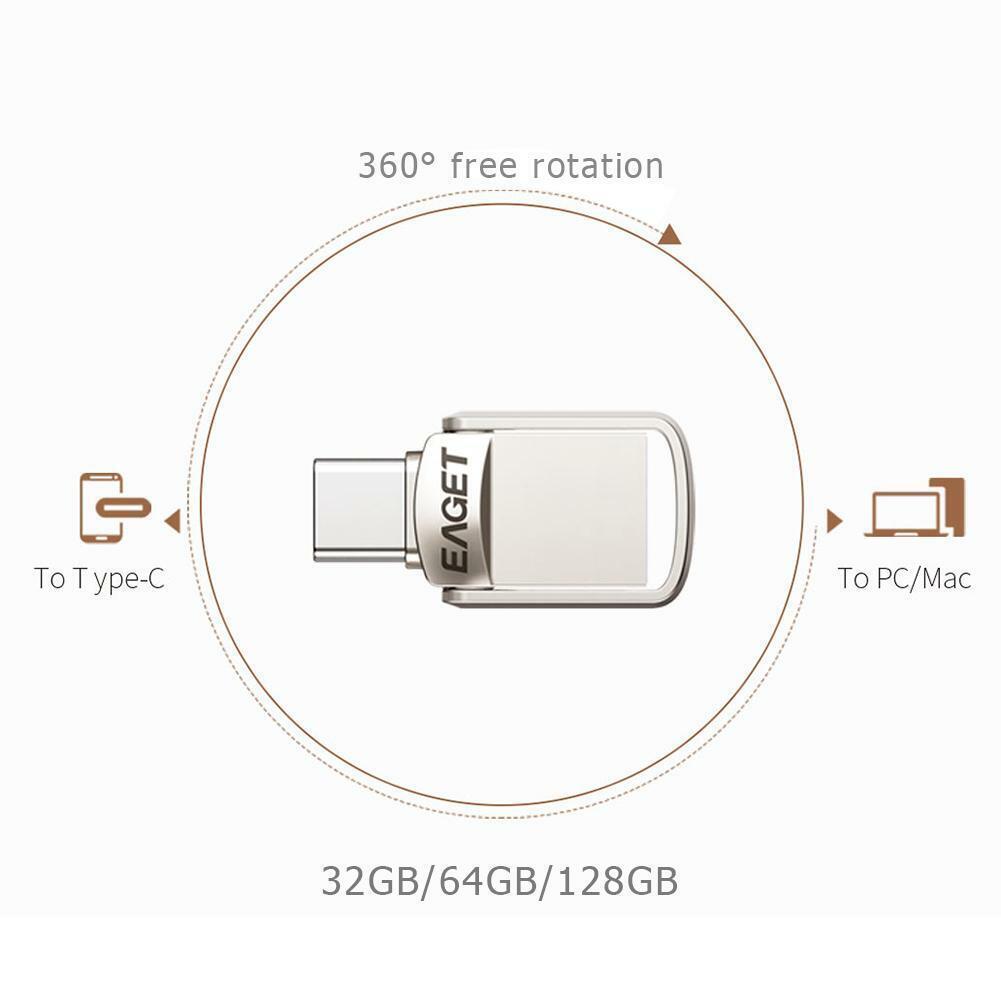 EAGET USB3.0 32/64/128GB Flash Drives Memory Metal OTG Type