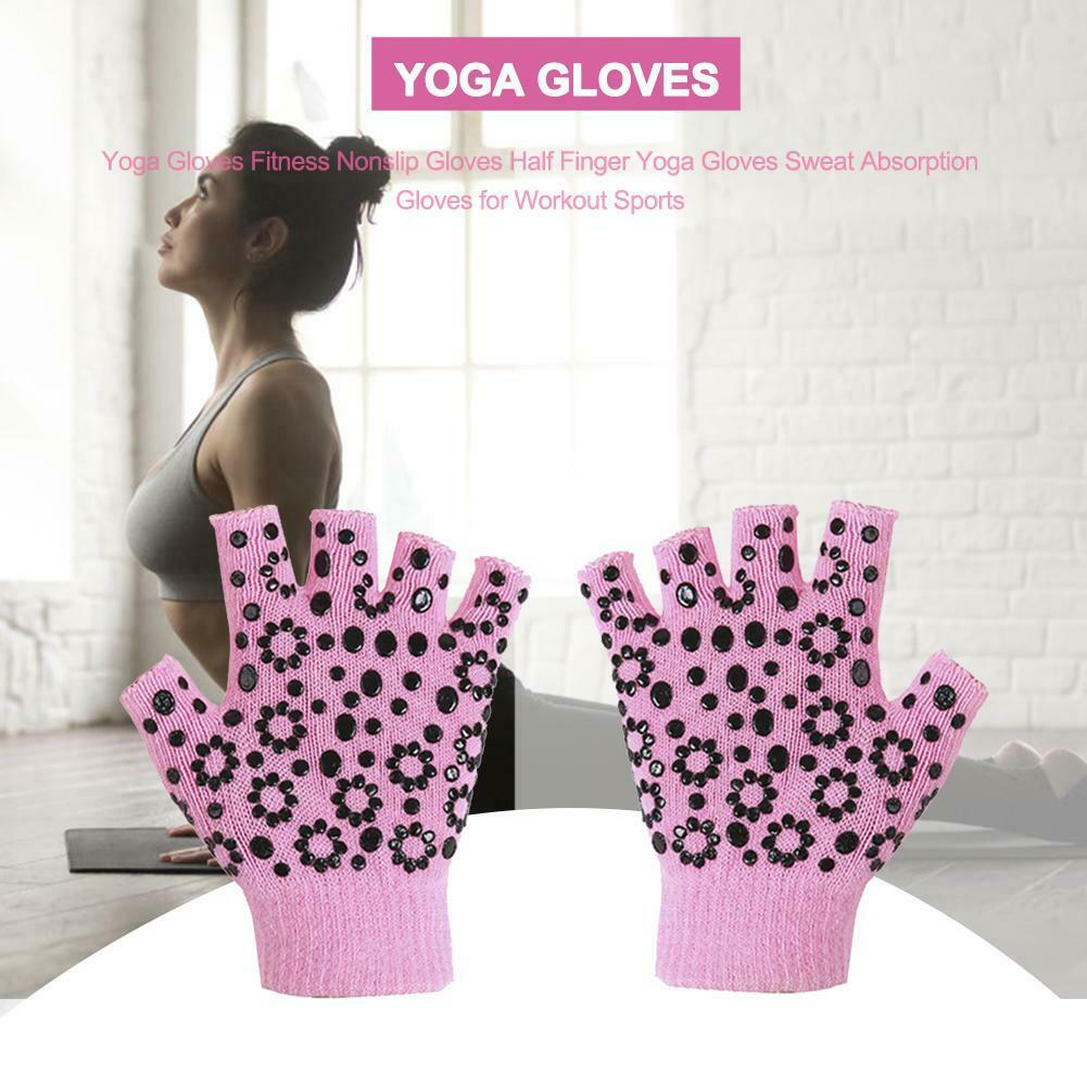 Yoga Fingerless Non-Slip Grip Gloves Sticky Gloves Gym Sport