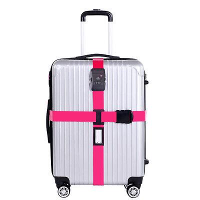 TSA Kreuz-Koffergurt Zahlenschloss Gepäckgurt Kofferriemen Rosa Kofferband DE (Tsa Gepäckgurt)