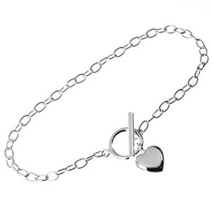Solid 925 Sterling Silver Toggle T Bar Bracelet With Puffed Heart Charm