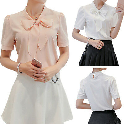 Short Sleeve Bow Tie - Office Lady Shirts Women Casual O Neck Bow Tie Short Sleeve Chiffon Blouses BE