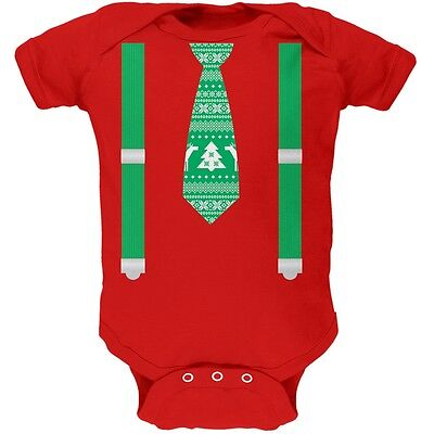 Ugly Christmas Sweater Tie With Suspenders Red Newborn Infant One Piece Onesie (Tie With Suspenders)