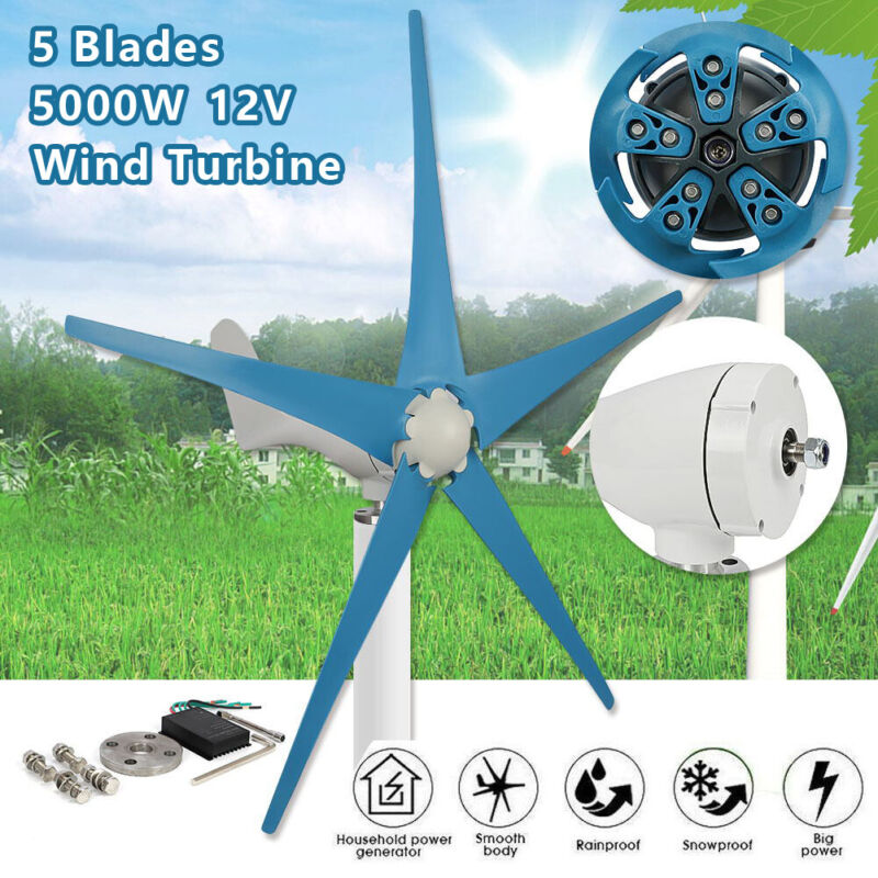 5000W Max Power 5 Blades DC 12V Wind Turbine Generator Kit W Charge Controller
