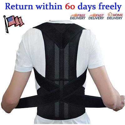 Unisex Adjustable Posture Back Support Corrector Brace Shoulder Band Belt