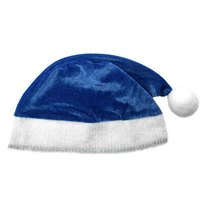 Adult Blue Plush Santa Hat ~ FUN XMAS, CHRISTMAS, HOLIDAY, COSTUME, PARTY HAT