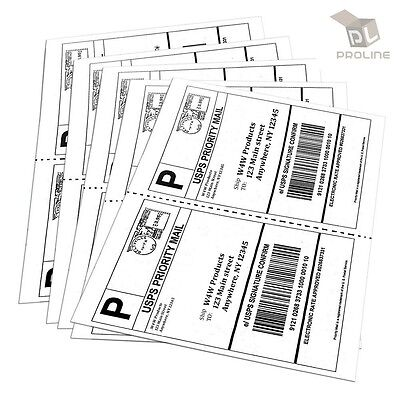 1000 Shipping Labels Perforated 8.5x5.5 Self Adhesive 2 Per Sheet 500 Sheets