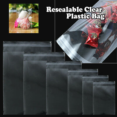 100 Bags, Clear Poly Bags Large Small Plastic Packaging Resealable Cello NEW