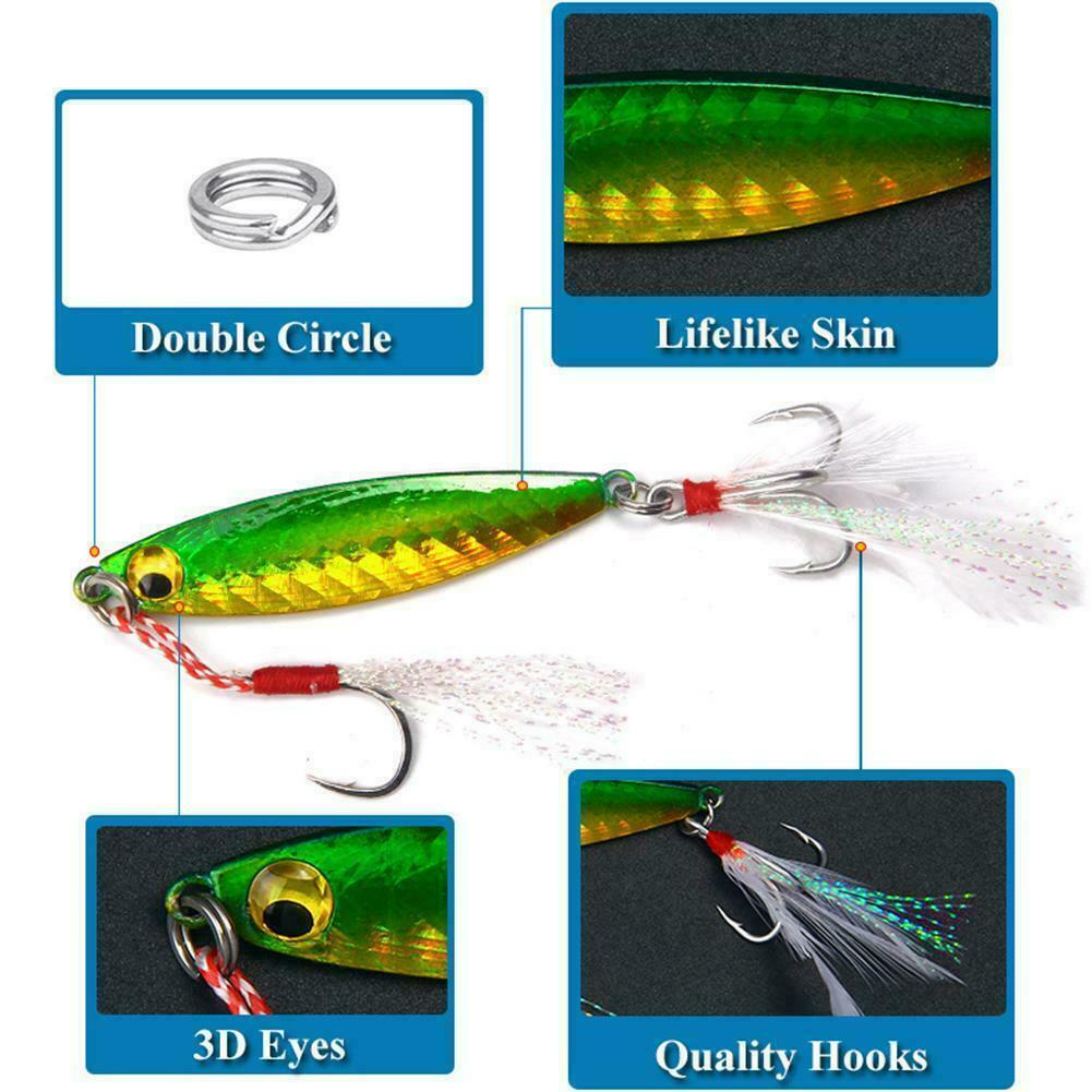 Lot 6 x Micro Jigs Butterfly Jig Glow Fishing Lures Snapper Jigging Slow Lures
