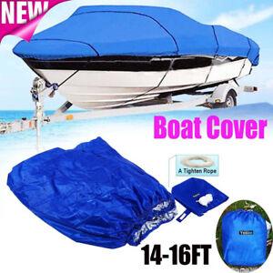 14 15 16ft Heavy Duty Tri-Hull Trailerable Waterproof Boat Cover V-Hull Beam US