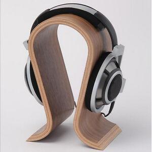 Walnut Wooden U-shape Gaming Headset Earphone Headphone Stand Hanger Holder Rack
