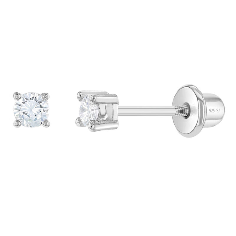 925 Sterling Silver Clear CZ Stud Baby Earrings Screw Back Toddlers to Kids 2mm