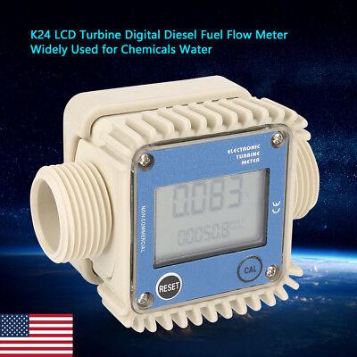 Pro K24 Lcd Turbine Digital Diesel Fuel Flow Meter For Chemicals Water Us