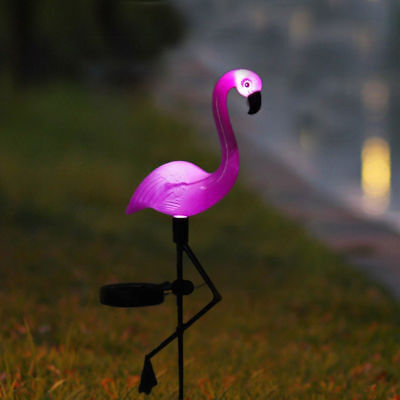 Solar Power Pink Flamingo Lawn Dector Garden Stake Landscape Lamp Outdoor Light