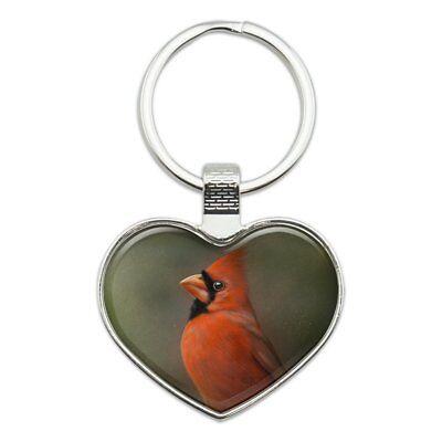 Red Cardinal Bird On Branch Heart Love Metal Keychain Key Chain Ring
