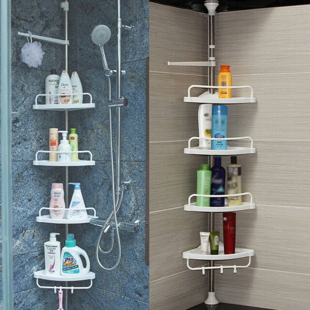 5 E9 No Rust Bathroom Telescopic Corner Shelf Storage 4 Tier Shower ...