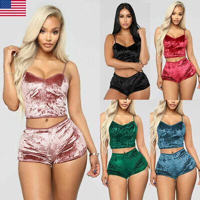 Sexy Women's Underwear Sexy Lingerie Pajamas Velvet Crop Tops Bralette&Panty -