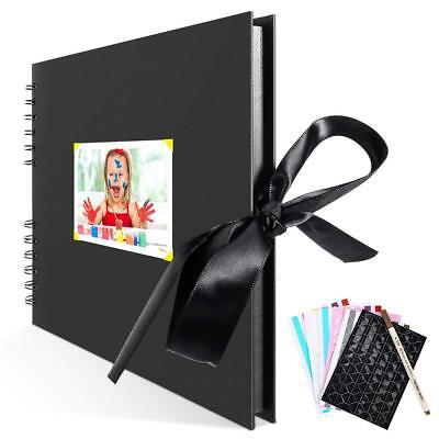 Scrapbook Photo Album, Self Adhesive DIY Scrapbooking Kit with 80 Black Pages (Scrap Book)