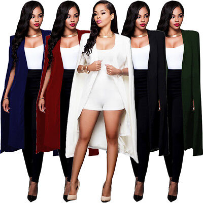 Women Fashion Cape Cardigan Plus Size Loose Long Cloak Trench Coat Outerwear - Womens Capes