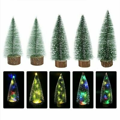 Mini LED Sisal Christmas Tree Lights Up Small Pine Tree Tabletop Xmas Decor US ()