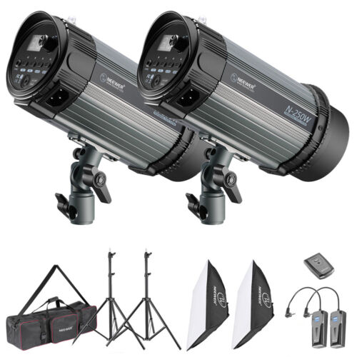 Neewer Studio 2-Pack 250W Strobe Flash Light Kit with Light Stands and Softbox