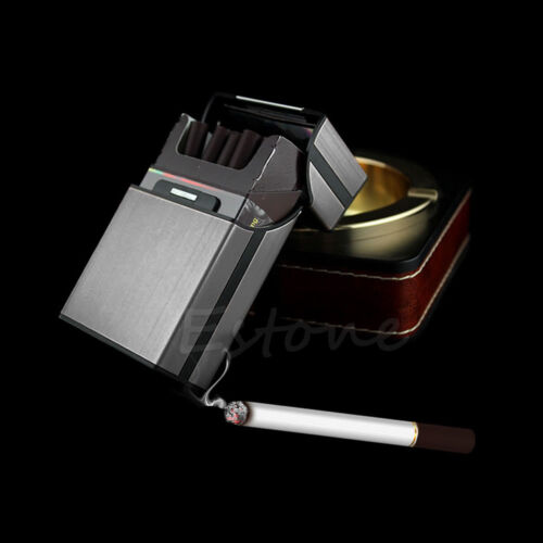 Black Aluminum Metal Cigar Cigarette Box Holder Pocket Tobacco Storage Case